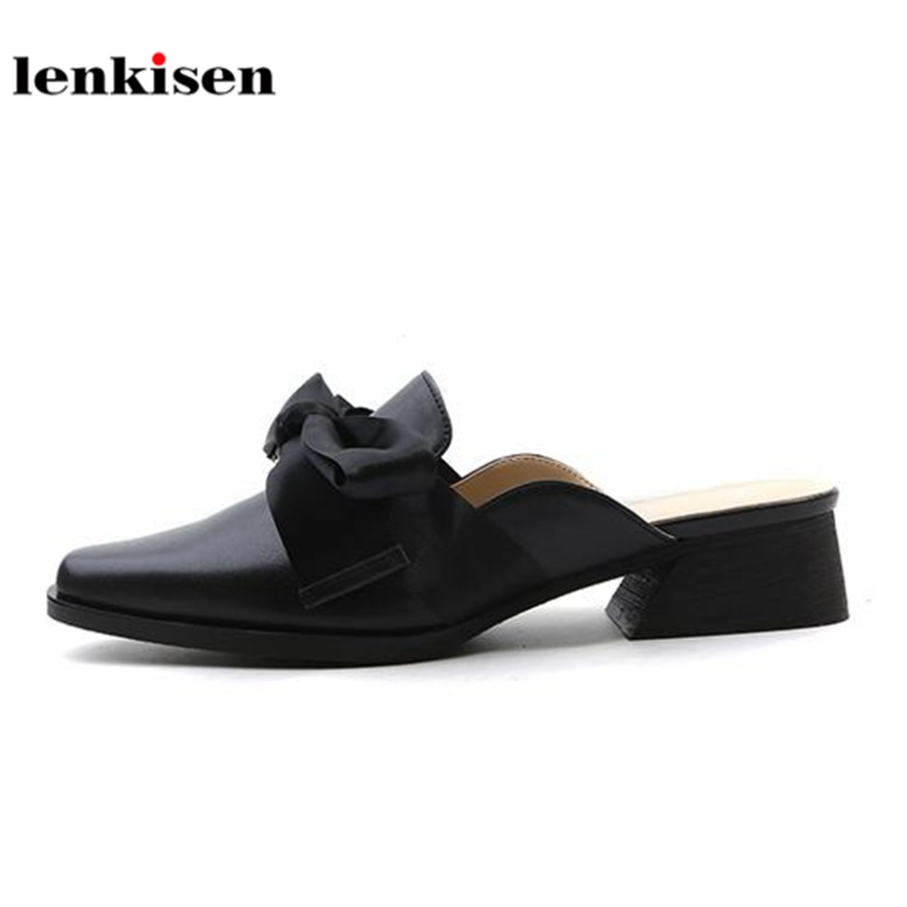 Lenkisen genuine leather silk butterfly knot women sandals med heels new fashion simple slingback pointed toe summer mules L66 цена