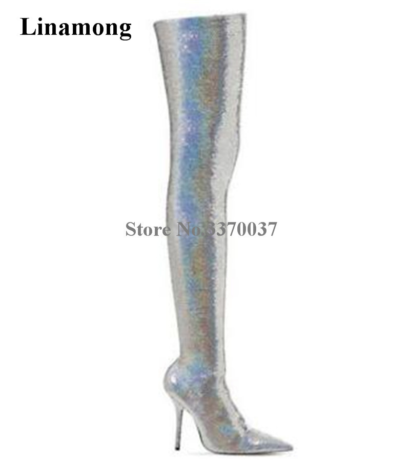 New Fashion Women Bling Bling Stretch Fabric Over Knee Silver Gold Thin Heel Boots Sequined Sexy Bandage Long Dress Boots Shoes