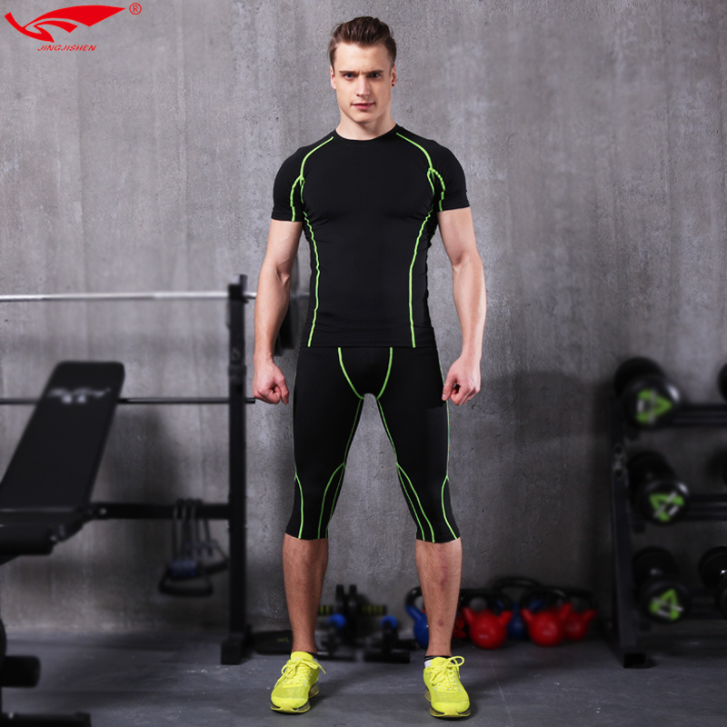 Fitness men compression t shirt running suits kits men for Dress shirts for athletic guys