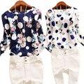2016 verão Casual Chiffon Sexy profundo em torno do pescoço mulheres Blusas azul branco manga comprida Tops sólidos Plus Size Blusas soltas