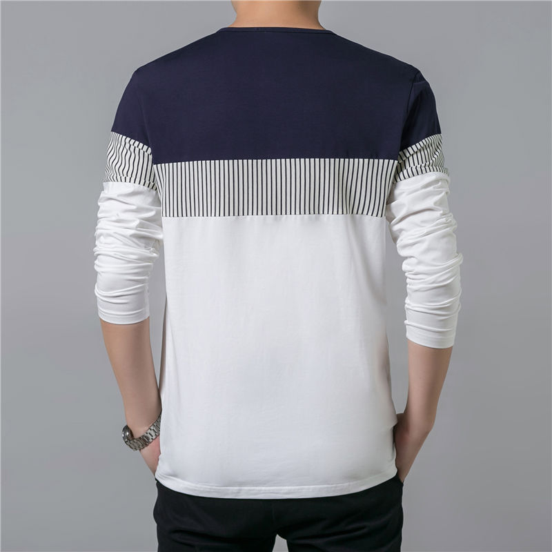 COODRONY T-Shirt Men 17 Spring Summer New Long Sleeve O-Neck T Shirt Men Brand Clothing Fashion Patchwork Cotton Tee Tops 7622 7