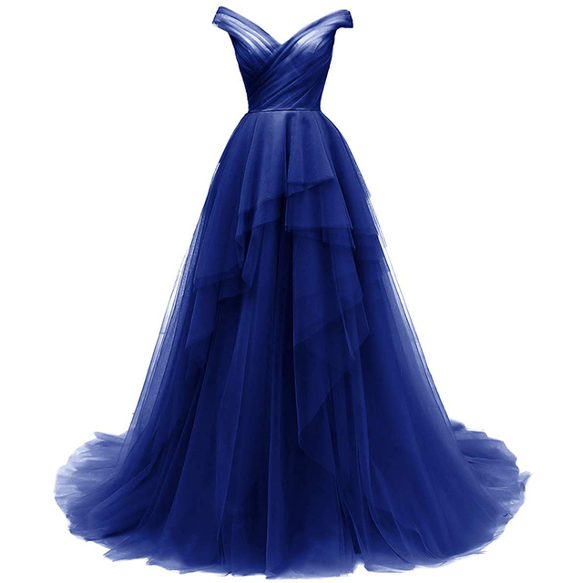 57db0e5030 US $110.26 26% OFF|Aliexpress.com : Buy luxury Tiered Tulle Prom Dresses  Long Off The Shoulder Formal Party Ball Gowns suknie wieczorowe Formal  Dress ...