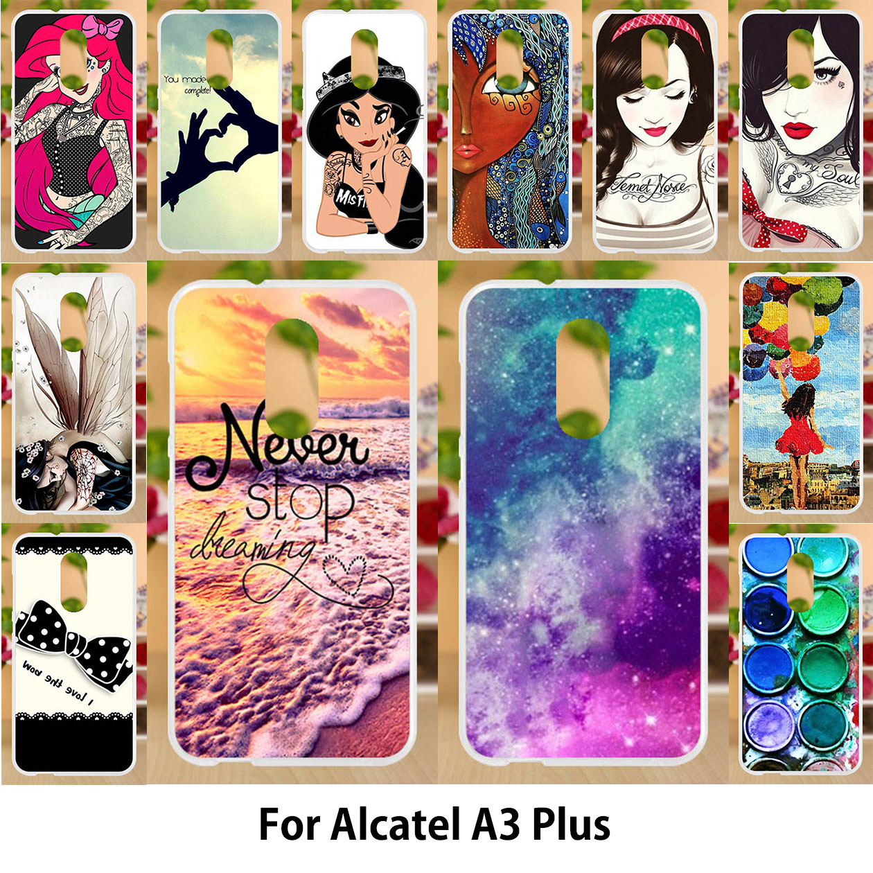 Anunob Case For Alcatel A3 Plus Cases TPU Soft Silicone 5 5 Inch Cover For Alcatel A3 Plus Covers Painting Star Hot Selling in Fitted Cases from Cellphones Telecommunications