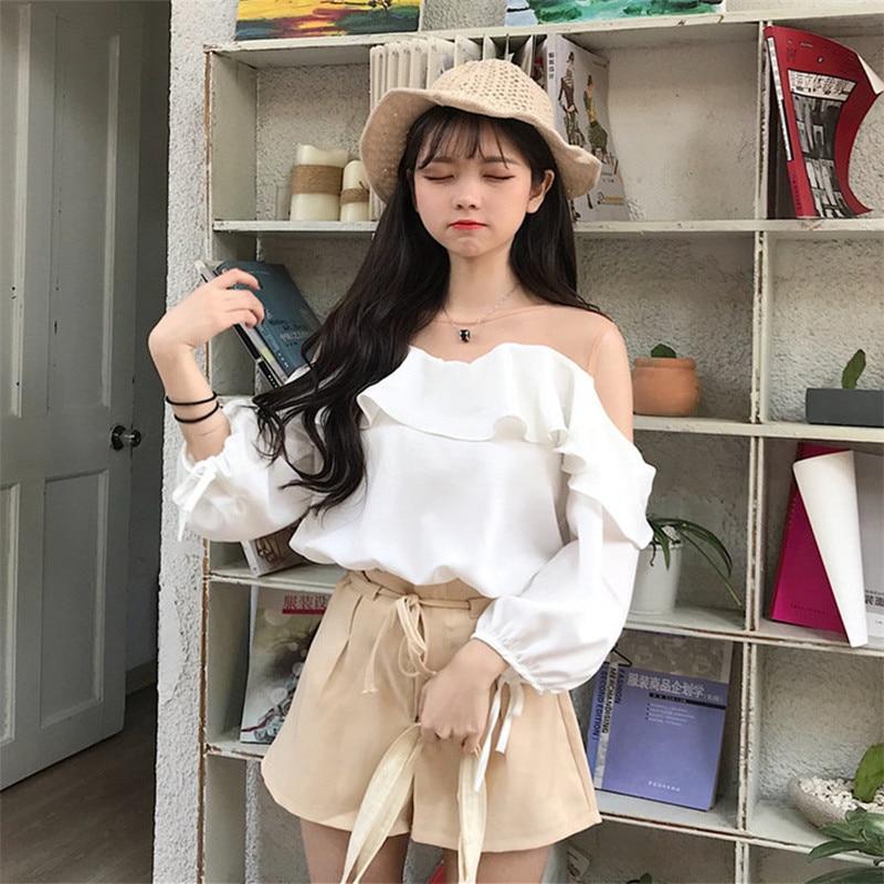 Mode Femmes Casual De Blanc Dentelle Coréenne Bretelles Cou Vêtements Sexy O Blouses Chemise bourgogne Tops Volants Noël Et Chemises wArqwx0C