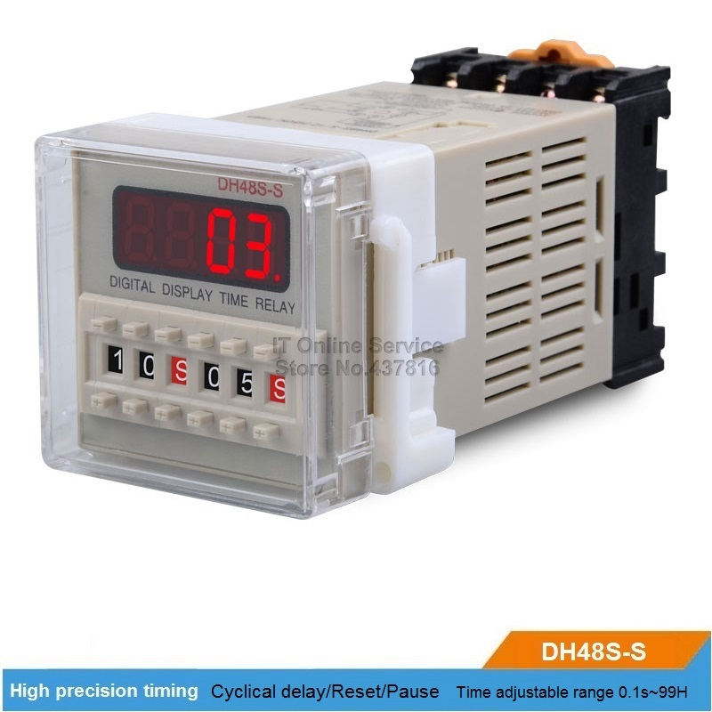 DH48S-S 220V/12V/24V LED Digital display Time relay Cyclical delay Reset/Pause Function Time adjustable 0.1S~99H цена