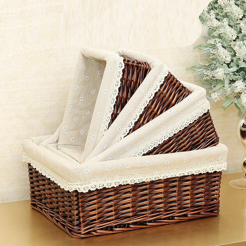 Bamboo Weaving Storage Basket Fruit Picnic Basket Rattan Storage Box For Cosmetics Snacks Tea Book Organizer Handiwork mx0117109