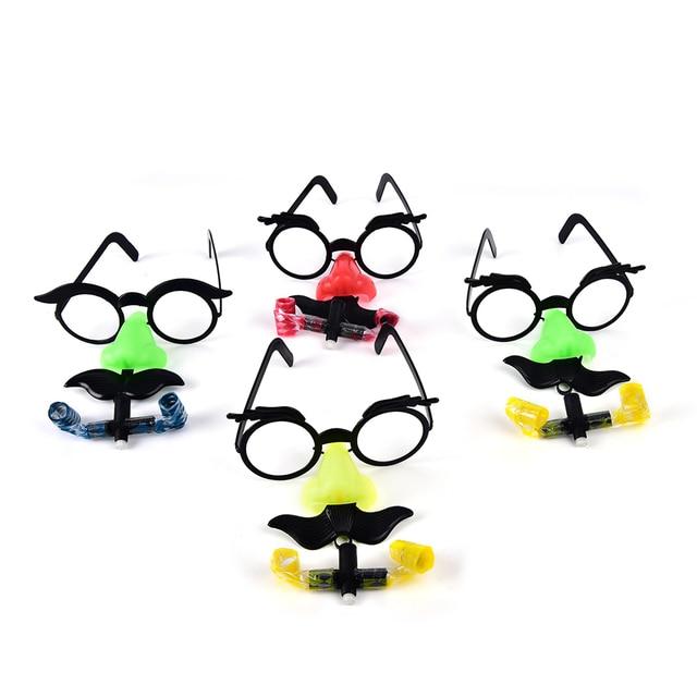 2 pcs Engraçado Bigode Óculos de Nariz de Palhaço Apito Costume Bola Redonda Quadro Nariz Falso soprar dragão toy Joke truque cor aleatória