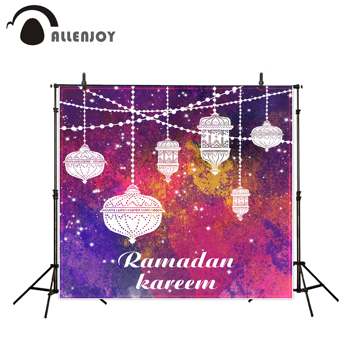 Allenjoy Photographic Background Eid al-Fitr photocall Colour Islam Hollow chandelier backdrop Ramadan Kareem camera fotografica