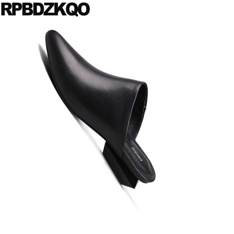 Tamanho Do Dedo Do Pé apontado Saltos Baixos 4 34 Preto Senhoras Desfile de Alta Sapatos Mulas Chinelo Mulheres Heelless Médio Bombas de Couro Genuíno sandálias