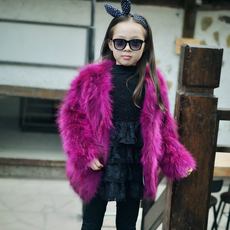 Fuchsia Natural Raccoon Fur Coat Autumn Winter Children Warm Thick Outerwear Short Solid Fur Jacket GirlsO-Neck Outerwear Coat