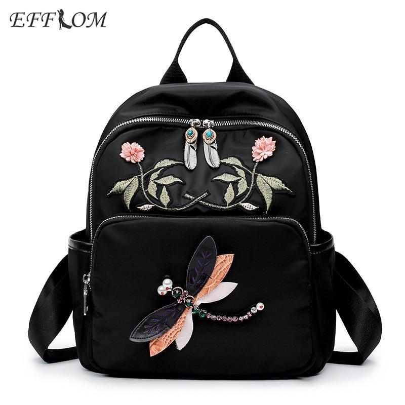 Vintage Women Backpack Canvas Fabric Embroidered Flower Backpack Schoolbag Nylon Travel Backpacks Feminine Rucksack Dragonfly
