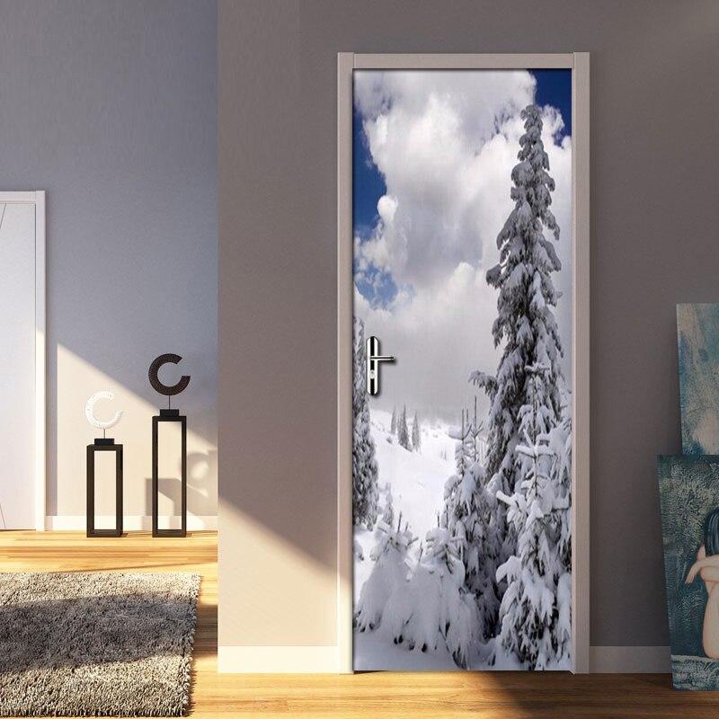 White Snow Pine Door PVC Waterproof 3D Mural Wallpaper Home Decoration Living Room Modern Art DIY Door Stickers Papel De Parede