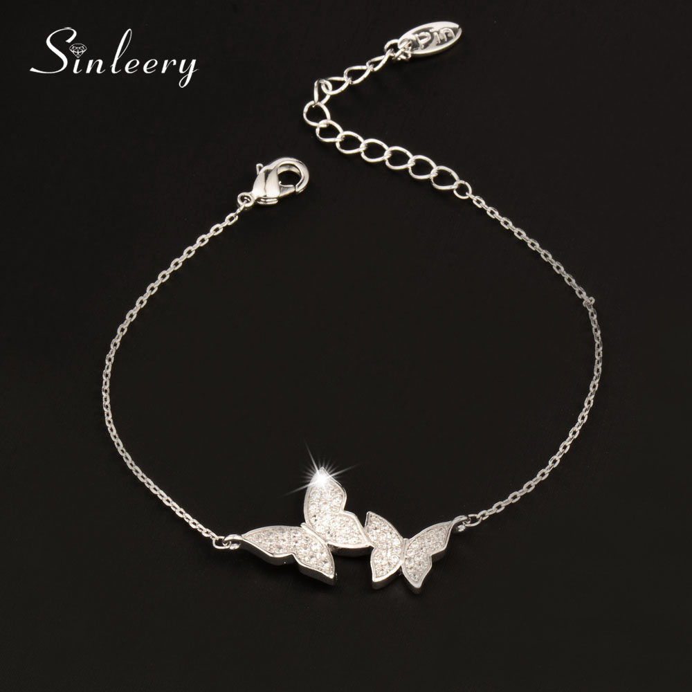 SINLEERY 2017 New Fashion Elegant Simple Crystal Butterfly Chain Bracelet Bangle For Women Jewelry Silver /Rose Gold Color Sl386