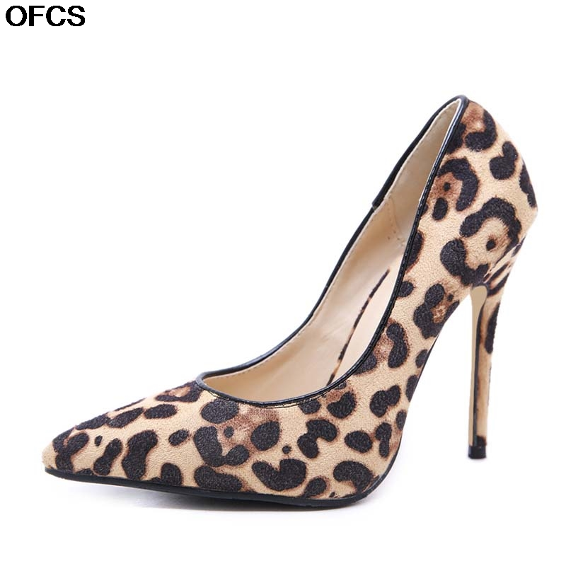 Women Pumps Leopard Shoes <font><b>High</b></font> <font><b>Heels</b></font> Office Shoes Lady Pointed Toe Flock Sexy <font><b>12</b></font> <font><b>cm</b></font> Wedding Party Shoes Women Size 35-40 image