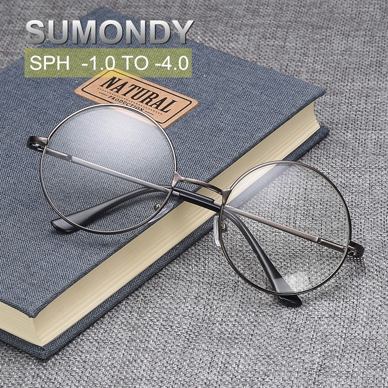 Finished Myopia Glasses With Diopter SPH -1 -2.0 -2.5 -3.0 -3.5 -4.0 Women Men Alloy Round Frame Shortsighted Spectacles UF33