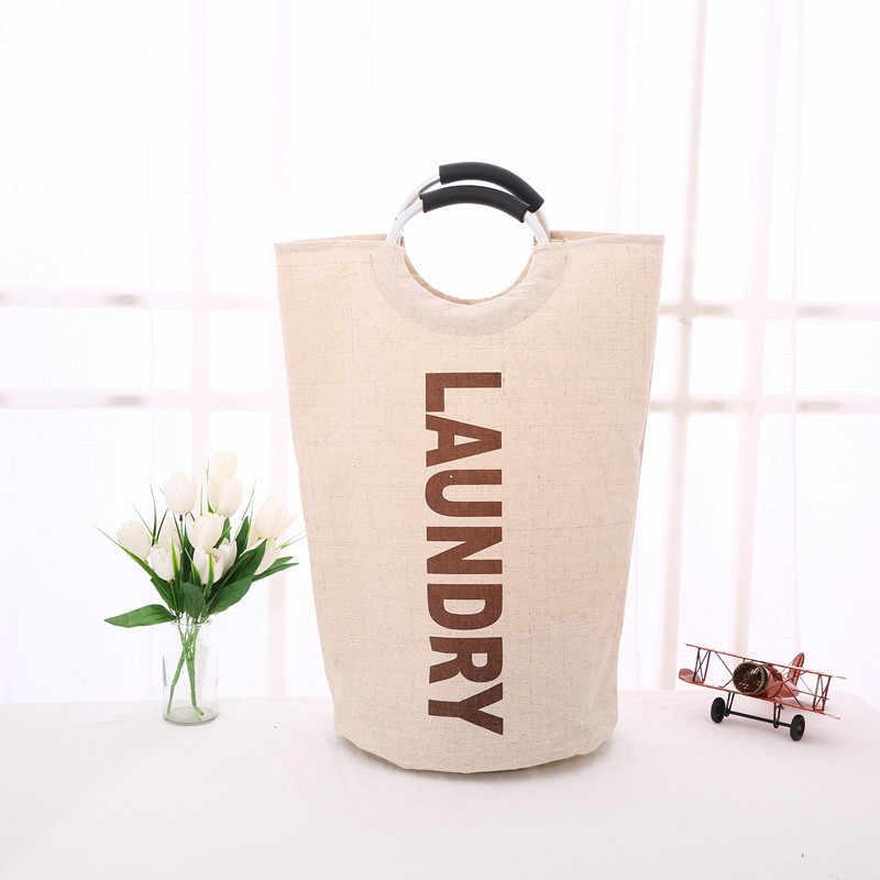 32*60 cm Tecido Cesto de roupa suja Roupas Letras Impressas Branco Organizador Cesta para Brinquedos de Compras Portátil Saco de Roupa Suja saco