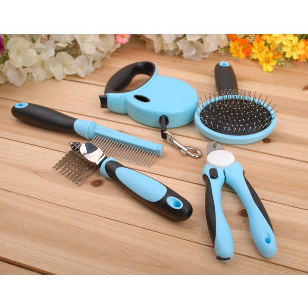Dog Grooming Kit  Pet Dog Cat Retractable Leash Pet Combs Pet Nail clipper Pet Cleaning Kit Blue the lady in the lake level 2 cd