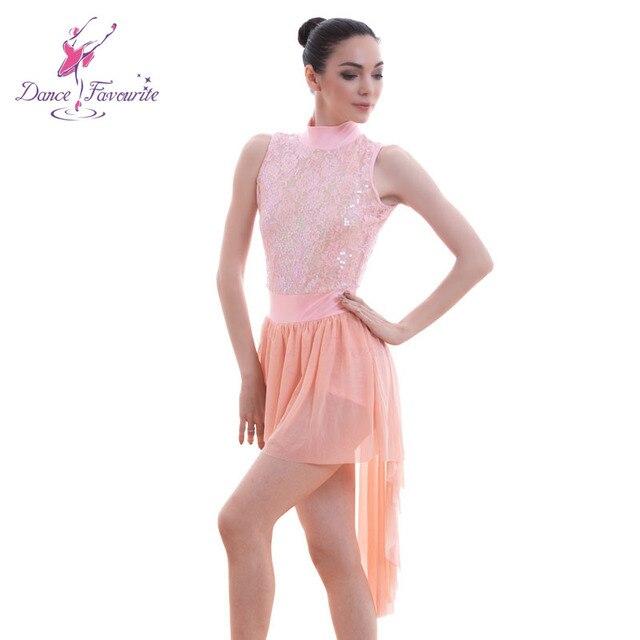 Stunning pink sequin lace bodice ballet Lyrical dance costumes dress women  stage ballet dress girl dance costume dress 9ec6e646aff4