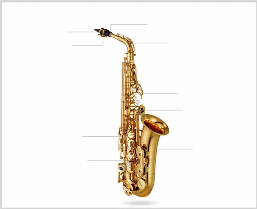 High Quality New alto E flat alto saxophone music Instrument professional grade Electrophoretic gold saxophone Brass shipping yas 82z saxophone e flat alto saxophone top music high quality sax electrophoresis gold dhl ups shipping