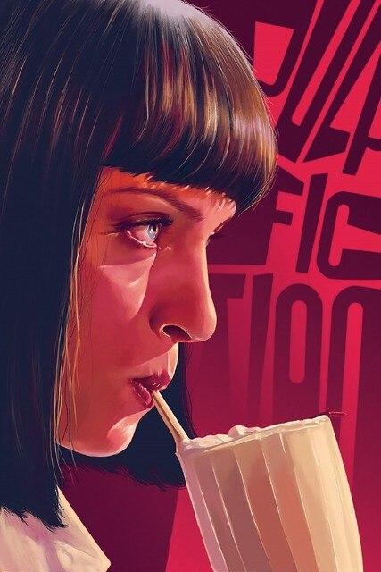 DIY Frame Pulp Fiction Uma Thurman Drinking Classic Movie Film Wall Decor Posters Art Silk Fabric