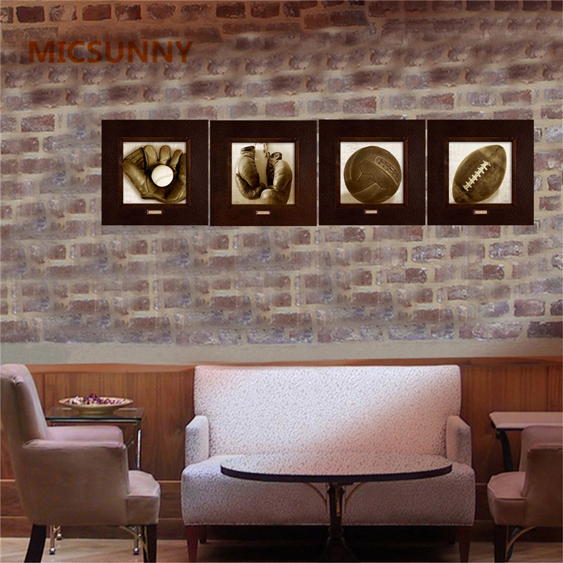 MICSUNNY Vintage Sports Painting On Canvas for Living Room Decor Baseball Boxing Gloves Wall Art American Picture Rock Pop Decor