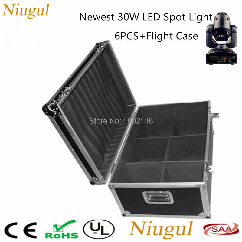 6pcs/lot With A Flight Case 30W LED Stage Gobo Light /30W LED Moving Head Lights /Disco DJ lighting /LED 30W Patterns Light 4pcs lot 30w led gobo moving head light led spot light ktv disco dj lighting dmx512 stage effect lights 30w led patterns lamp