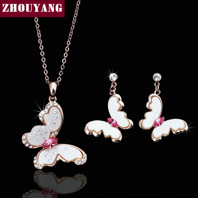 Top Quality ZYS015 Beautiful Butterfly Rose Gold Color Wedding Jewelry Necklace Earring Set Made with Austrian Crystals