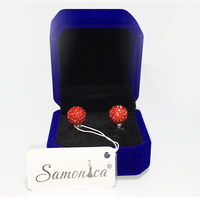 Siam Red Shamballa 925 Sterling Silver Czech Crystal Rhinestones Crystal Polymer Clay Ball 10mm Stud Earrings