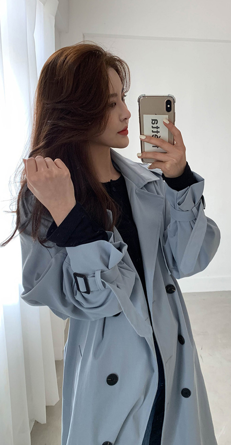 19 New Autumn Winter Women's Coat Korean Windbreaker Female Plus Size Double Breasted Ladies Long Chic Trench Coats 11