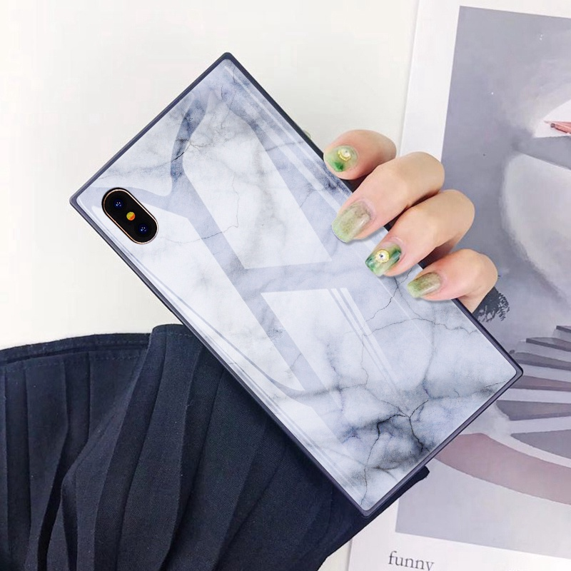 TOMKAS Black Luxury Marble Phone Case for iPhone 6 6s X Xs Glass Back Cover Case for iPhone 7 8 Plus Silicone Square Shockproof  (2)