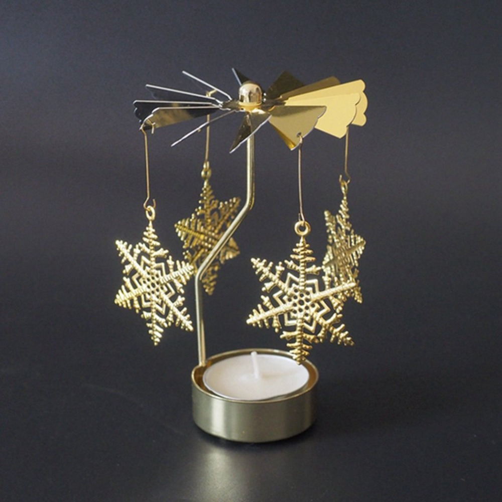 Xmas Rotating Spinning Carrousel Tea Light Candle Holder Center  Silver ^