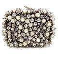 Mulher bolsas moda 2016 Europeu hedgehog carteira diamante bordado contas pesado noite de alta-grade pérola bolsa do vintage
