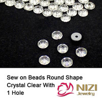 Crystal Clear Beads 3mm 4mm 5mm 6mm 8mm Round Flatback Glass Beads Sew On DIY Beads For Wedding Dress Fashion Crystal Beads