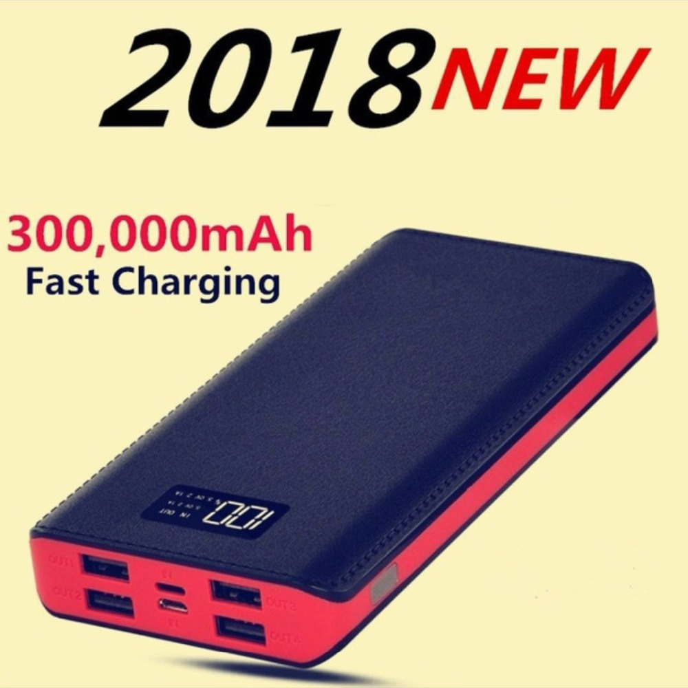 30000mAh Power Bank with LCD 4 USB Port 18650 External Battery Universal Charger For iphone XS MAX samsung S8 S930000mAh Power Bank with LCD 4 USB Port 18650 External Battery Universal Charger For iphone XS MAX samsung S8 S9