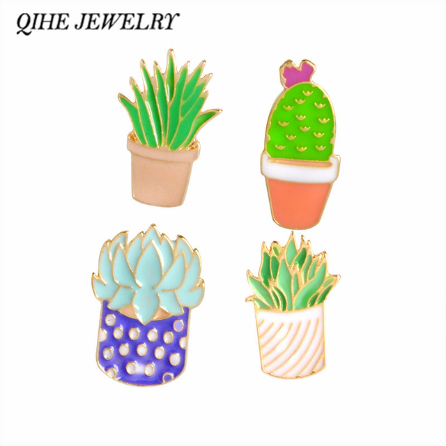 0 68 30 De Réduction Qihe Bijoux Plantes Succulentes Cactus Aloe Vera Mignon Plante En Pot Broches Broche Badge Plante Amant Cadeau Accessoire De
