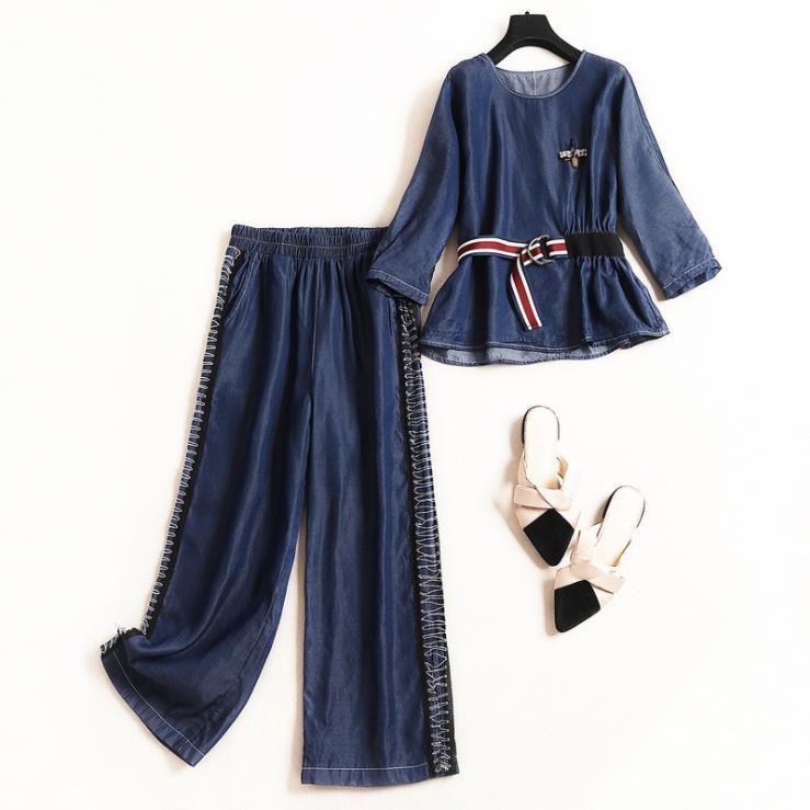 Jambes Femmes D'été Denim Nouveau Large Européen Style Pantacourt Et Neuf 2019 Costume Vêtements shirt point Pour Avec T Américain Teinté awnAqUgx5