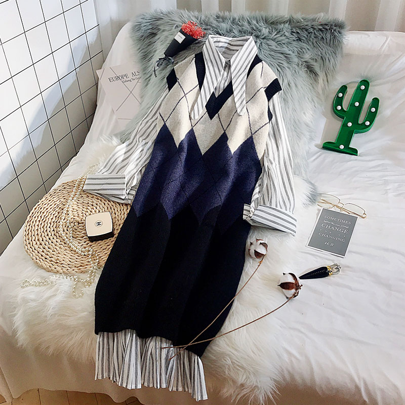 New Spring Fashion V Neck Knitted Vests Medium long Loose Plaid Sleeveless Knitting Vests Female Sweaters Dress Top