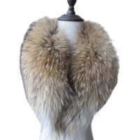Women Real Natural Raccoon Dog Fur Collar Scarf Mens Brown Length=80cm(Lining*15cm)