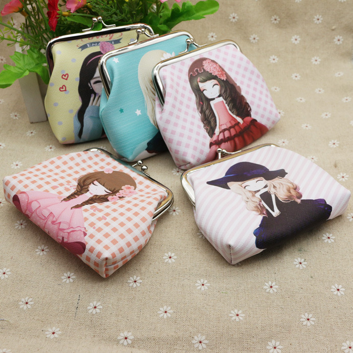 New buckle Little girl cute pattern purse Creative lady Short wallet Printed coin bag