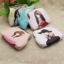 New buckle Little girl cute pattern Clasp purse Creative lady Short wallet Printed coin bag