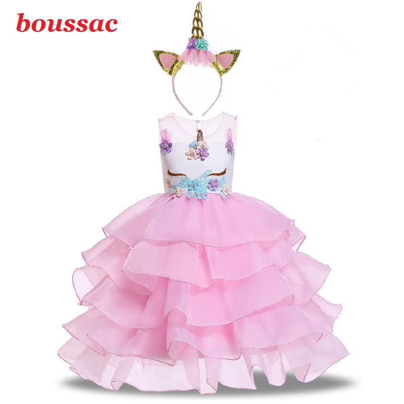 Kids Girls Cartoon Unicorn Costume Cosplay Dress Shiny Sequins Mesh Tutu Dress for Halloween Party Costume Dress up 3-12 Years