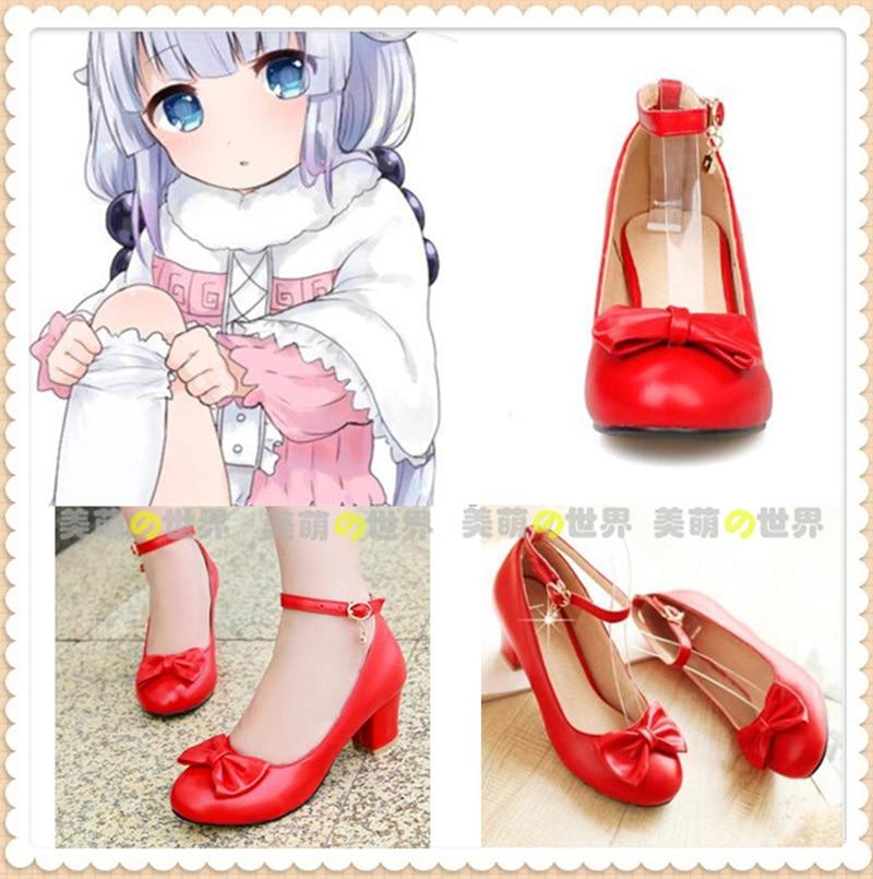 Japanese Kobayashi-san Chi no Maid Dragon Kanna Red shoes Comic Con Kanna Cosplay Red Girl Lolita High Heel shoes large size