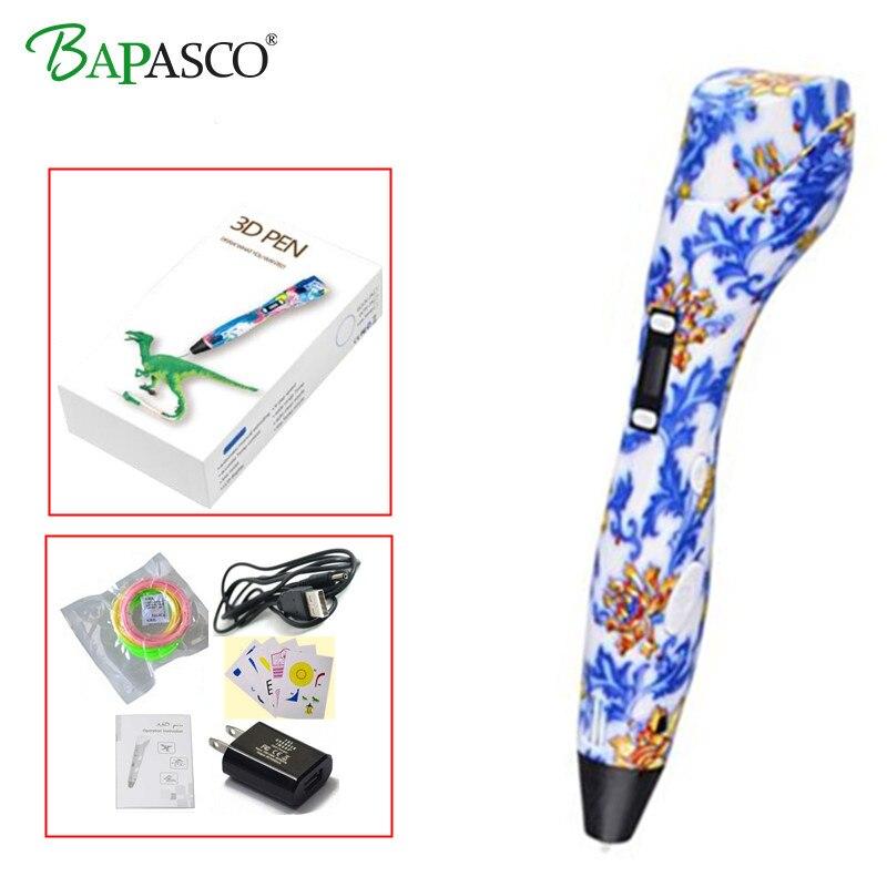New High-tech 3D Printing Pen BAPASCO K3 3D Pen compatible ABS/PLA/PCL Kids Souptoys Temperature LED Screen Safe Drawing Pen 3D compatible pink samsung ssg 2200kr kids 3d glasses by quantum 3d g7