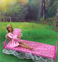 Free Shipping Classical Dolls Furniture Set Bed Sheet Pillow 3 Piece Set For Barbies Girls Nice