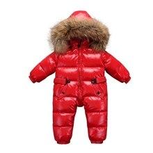 Toddler Snowsuits Winter Children Snow Coveralls Baby Snowsuit Real Fur Collar Infant Boys Girls Duck Down Jumper