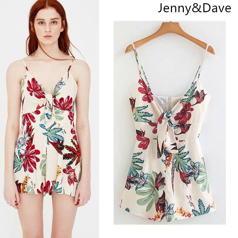Jenny&Dave playsuits women v-neck strapless floral spaghetti strap print bow playsuits women kimono feminino tops plus size 2018