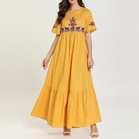 4a508b79be176 Summer Boho Yellow Plus Size Party Sweet Elegant Women Long Dresses High  Waist Floral Embroidery Pleated Travel Beach Maxi Dress