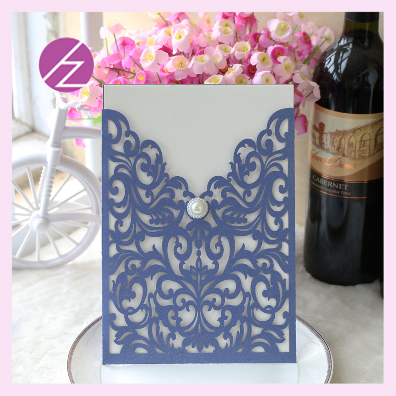 12pcs/lot Wedding Invitation Cards With Low Price Party Decoration Free  Shipping Laser Cut Pocket