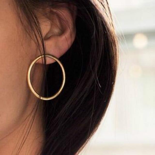 2018 Fashion Lady Delicate Copper Minimalist Style Solid Geometry Round Beautiful Earrings Stud Earrings
