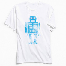 Robot Phobia T Shirts for Men Blue White T-shirt Pure Cotton School DAY Tops Tees Europe Tee-Shirt Short Sleeve Funny Streetwear недорго, оригинальная цена